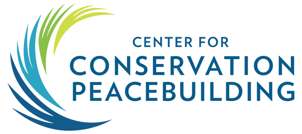 Center for Conservation Peacebuilding with an abstract C at the front of the words